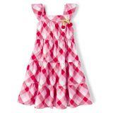 Girls Gingham Tiered Dress - Very Cherry
