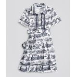 Girls Supima® Cotton Toile Printed Shirt Dress
