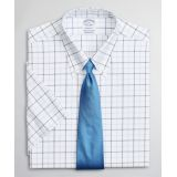 Stretch Regent Fitted Dress Shirt, Non-Iron Twill Short-Sleeve Double-Grid Check