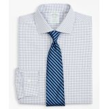Brooksbrothers Stretch Milano Slim-Fit Dress Shirt, Non-Iron Poplin English Collar Small Grid Check