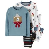 4-Piece Winter Bear Snug Fit Cotton PJs