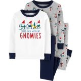 4-Piece Gnomes Snug Fit Cotton PJs