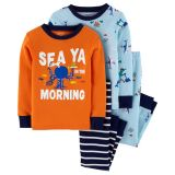 4-Piece Sea Creatures Snug Fit Cotton PJs