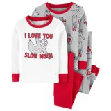 4-Piece Valentine's Day Sloth Snug Fit Cotton PJs