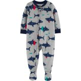 1-Piece Shark Poly Footie PJs