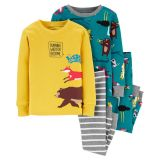 4-Piece Woodland Creatures Snug Fit Cotton PJs