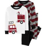 4-Piece Firetruck Snug Fit Cotton PJs