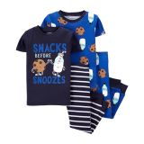 Carters 4-Piece Milk & Cookies 100% Snug Fit Cotton PJs