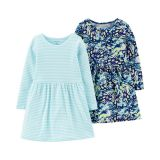 2-Pack Butterfly & Striped Jersey Dresses