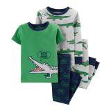 Oshkoshbgosh 4-Piece Alligator 100% Snug Fit Cotton PJs