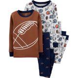 Oshkoshbgosh 4-Piece Football 100% Snug Fit Cotton PJs