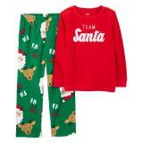 Oshkoshbgosh 2-Piece Santa Cotton & Fleece PJs