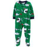Oshkoshbgosh 1-Piece Santa Shark Fleece Footie PJs