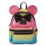 Minnie Mouse Sequined Mini Backpack with Bow by Loungefly  Rainbow