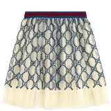 Mini Me embroidered tulle skirt GG