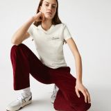 Lacoste Women's Crew Neck Embroidered Lettering Cotton T-shirt