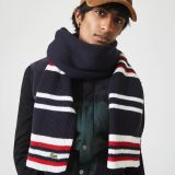 Lacoste Mens Made in France Striped Ribbed Rectangular Wool Scarf
