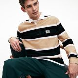 Lacoste Mens Striped Thick Cotton Jersey Rugby Polo