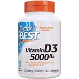 Doctors Best Vitamin D3 5,000 IU for Healthy Bones, Teeth, Heart and Immune Support, Non-GMO, Gluten-Free, Soy Free, 360 Count (Pack of 1)