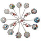 SMC BIG 1.75 INCH Psychedelic Jawbreakers Candy on Sticks 12 Count- Jawbreaker Lollipops-Hard As A Rock