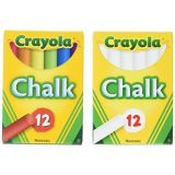 Crayola Non-Toxic White Chalk(12 ct box)and Colored Chalk(12 ct box) Bundle