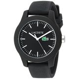 Lacoste Womens Ladies 12.12 Quartz Resin and Silicone Watch, Color:Black (Model: 2000956)