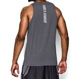 Under Armour Mens Charged Cotton Jus Sayin Too Tank, Carbon Heather/Elemental, Large