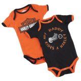 Harley-Davidson Boys Baby Twin Pack Creeper My Daddy Rides a Harley Orange