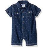 Calvin Klein Baby Boys Woven Romper, Blue, 12M
