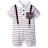 Calvin Klein Baby Boys Romper, Gray Stripe, 0-3 Months