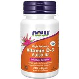 Now Foods Supplements Vitamin D3 5000 IU High Potency Structural Support Softgels, 240 Count
