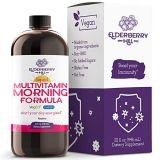 ELDERBERRY HILL ORGANICS Liquid Morning Multivitamin for Immune Support - Energy, Hair, Skin, Nails - Vegan Non-GMO MSM, Amino Acids and Trace Minerals Vitamin A B C D3 E - Raspberry Flavor 32oz