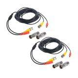 Flashmen 2-Pack 25ft HD Video Power Security Camera Cables Pre-made All-in-One Extension Wire Cord with BNC Connectors for CCTV Security Camera Black