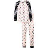 Lovey Hearts Organic Cotton Raglan Pajama Set (Toddler/Little Kids/Big Kids)