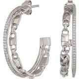 Michael Kors Precious Metal-Plated Sterling Silver Mercer Link Pave Halo Hoops Earrings