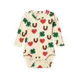 mini rodini Clover All Over Printed Long Sleeve Bodysuit (Infant)