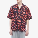 Abstract Rectangle Short Sleeve Button Down