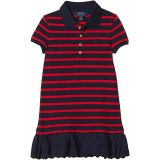 Eyelet Stretch Mesh Polo Dress (Little Kids)