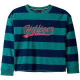 Stripe French Terry Crew Sweatshirt with Glitter Print (Big Kids)