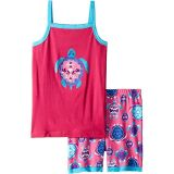 Pretty Sea Turtles Applique Organic Cotton Tank Pajama Set (Toddler/Little Kids/Big Kids)