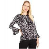 Petite Cheetah Flutter Sleeve Top