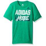 Adidas Boys Little Short Sleeve Moisture-Wicking Graphic T-Shirt, Hoops Bright Green 5