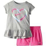 Heart Short Sleeve Tee Mesh Short Set (Toddler/Little Kids)