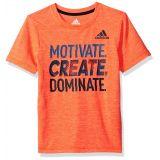 Adidas Boys Little Short Sleeve Moisture-Wicking Graphic T-Shirt, Solar Red Heather, 4