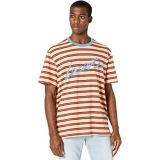 Short Sleeve Color-Blocked Striped Tee with Lacoste Script with Chest