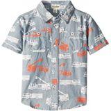 Hatley Kids Distressed Firetrucks Short Sleeve Button Down Shirt (Toddler/Little Kids/Big Kids)