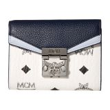 Patricia Visetos Leather Block Flap Wallet/Trifold Small