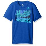 Adidas Boys Little Short Sleeve Moisture-Wicking Graphic T-Shirt, Hustle Harder Medium Blue 4