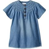 Chloe Kids Light Denim Dress, Stitched Yoke with Horn Buttons (Toddler/Little Kids)