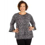 Plus Size Cheetah Flutter Sleeve Top